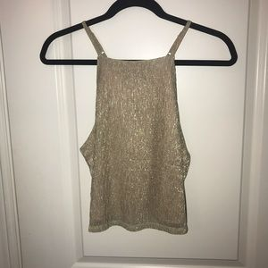 Gold crop top with open back